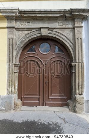 Traditional wooden door in the town, Slovakia