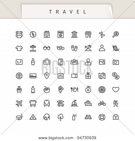 Travel and Vacation Stroke Icons Set
