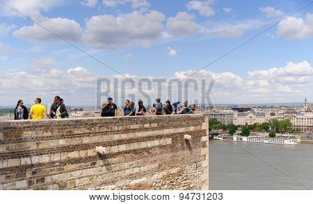 Tourists on viewing point in Budapest