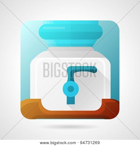 Flat stylish vector icon for water cooler