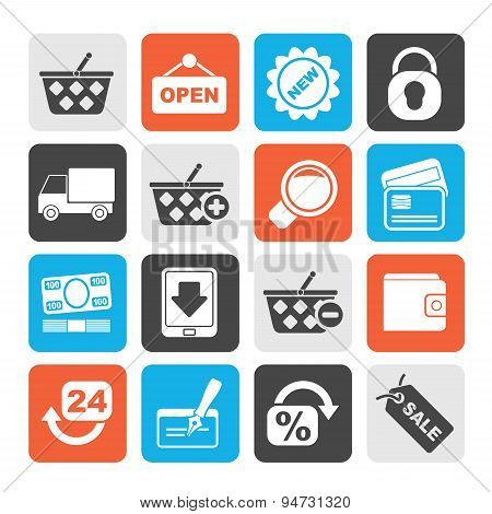 Silhouette shopping and retail icons