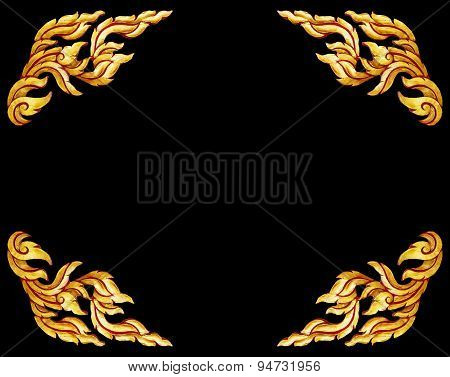Old Antique Gold Frame Wooden Doors Thai Style Pattern Isolated On Black Background