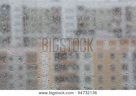 Drops Of Rain On A Window Pane