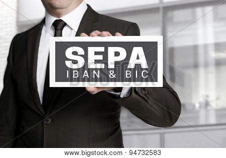 Sepa Sign Is Held By Businessman