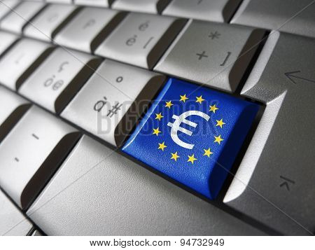 Euro Sign And Eu Flag Computer Key