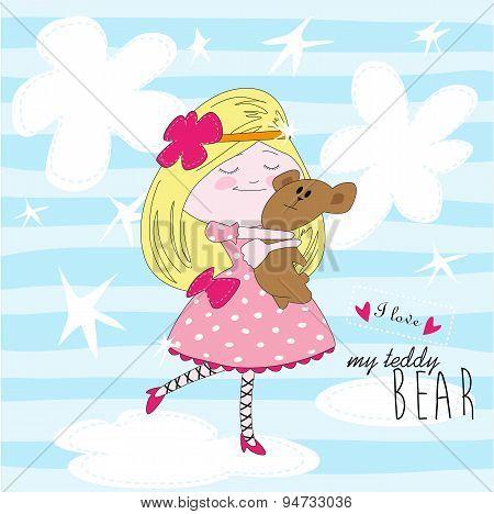 My lovely teddy bear - vector illustration