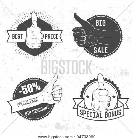 Badge, symbol or logotype with hand. For design elements, business signs, logos, identity, labels, b