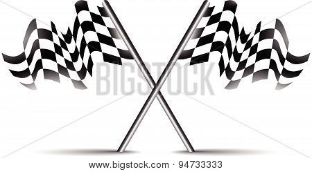 Crossed Race Flag Icon Vector Symbol