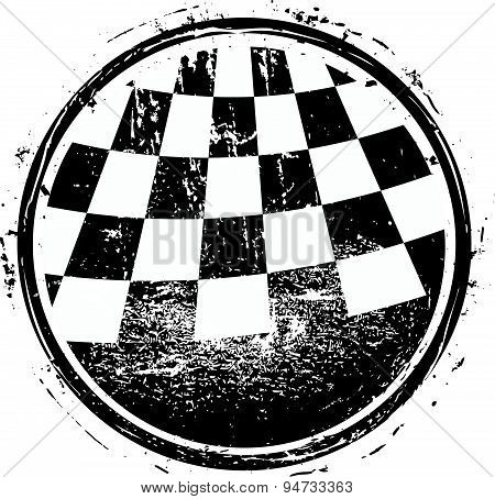 Checkered Race Flag Grunge Vector Design