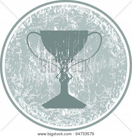 Trophy Stamp Icon Vector Symbol Grunge
