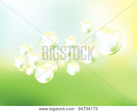 Soap Bubbles Fly Background Vector Illustration