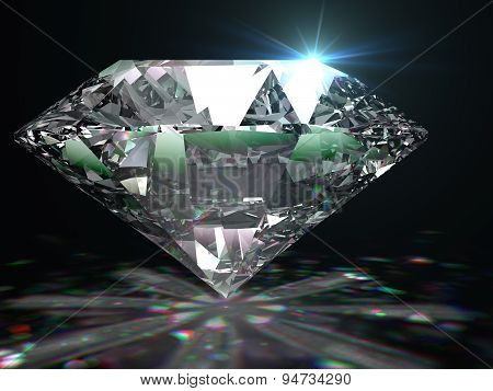 Brilliant diamond on black surface.