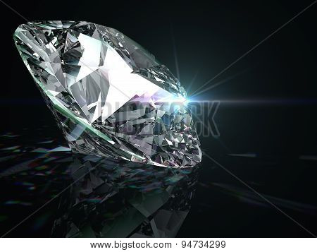 Shiny diamond on black background.