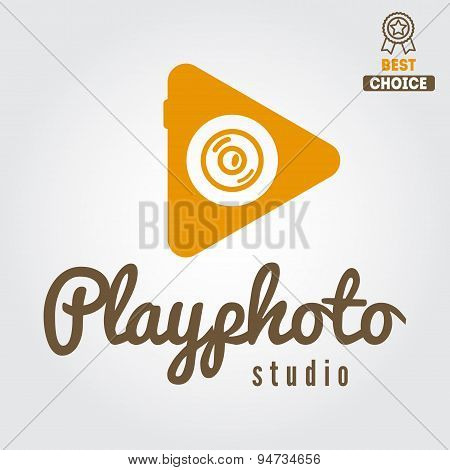 Logo, emblem, print, sticker, label and logotype elements for studio or photographer, photograph