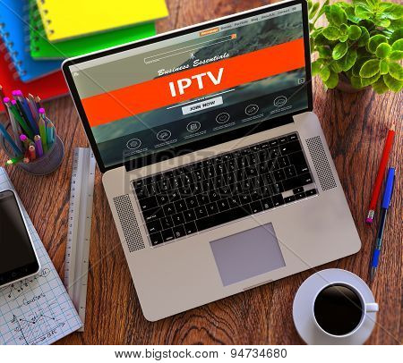 IPTV. Office Working Concept.