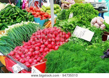 Market Table With Fresh Vegetables From Farmers