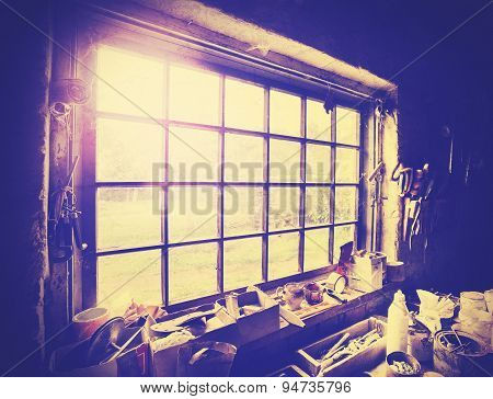 Vintage Stylized Window In Carpenter's Workshop.