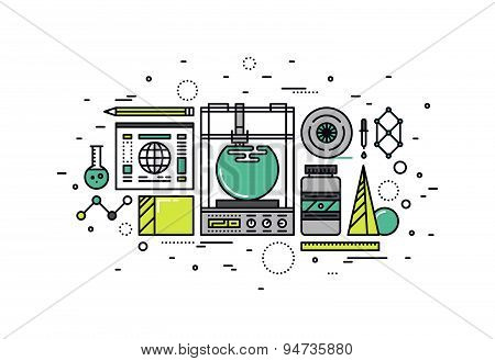 3D Printing Line Style Illustration