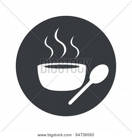 Monochrome round hot soup icon