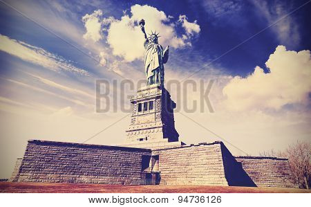 Vintage Filtered Photo Of The Statue Of Liberty.