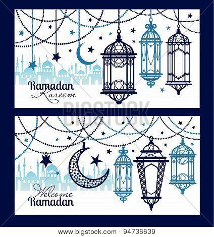Ramadan Kareem Celebration Greeting Banners