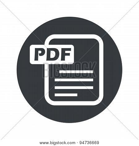 Monochrome round PDF file icon