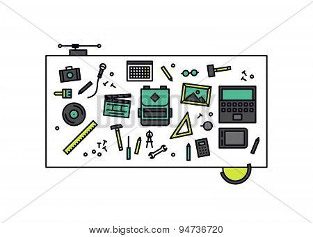 Workshop Desk Line Style Illustration
