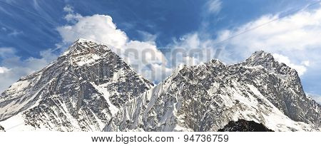 Panoramic View Of Mount Everest.