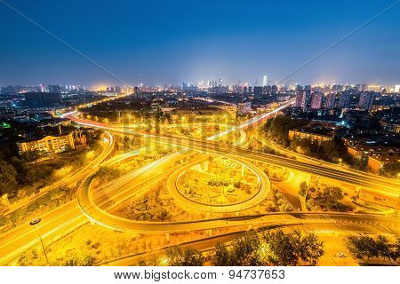 Interchange Road At Night