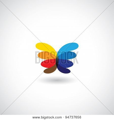 Abstract Creative Butterfly With Colorful Wings - Vector Icon