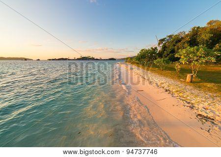 Golden Sunrise On Desert Exotic Beach