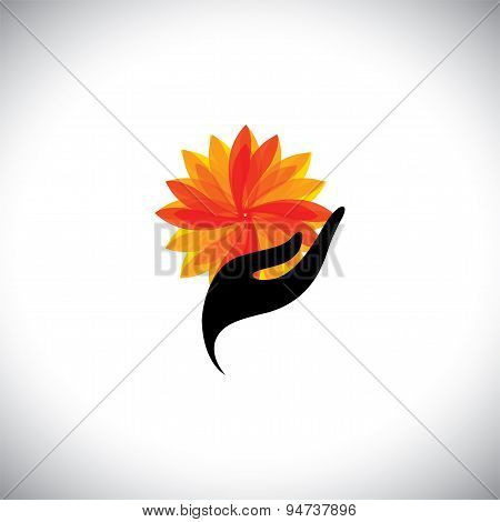 Spa Concept Graphic With Woman Hand & Flower - Vector Icon