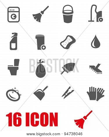 Vector grey cleaning icon set
