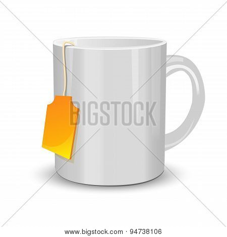 White cup of tea with label