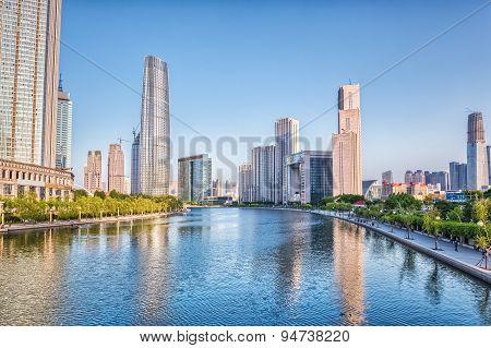 Dusk Scene Of Tianjin Haihe River