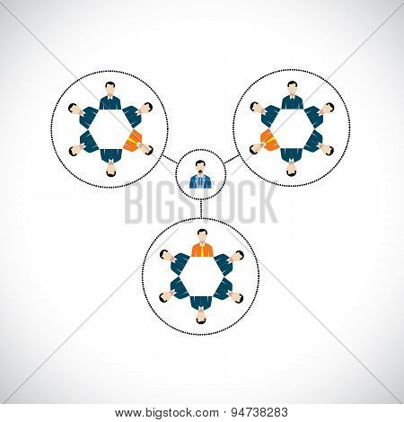 Flat Vector Circle Design Of Team, Teamwork, Office Hierarchy