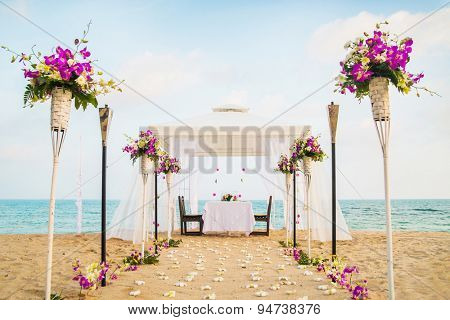 Romantic honeymoon dining place on the beach. Samui island, Thailand.