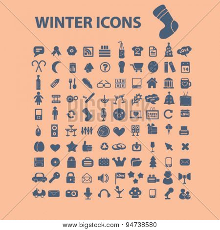 winter holidays icons, illustrations