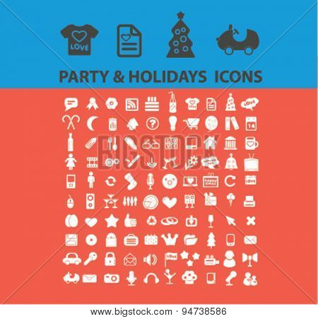 party, holidays icons, illustrations