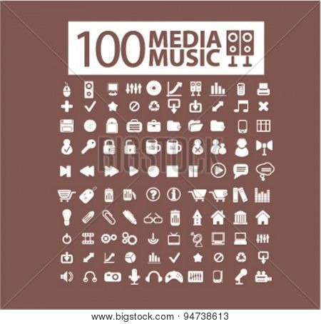 music, media icons, illustrations