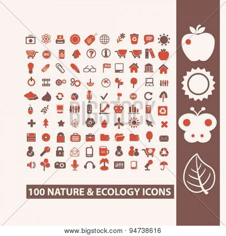 nature, ecology icons, illustrations