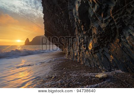 Rock from the sea. Seascape with rocks on the shore and the beautiful sunset. Crimea