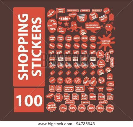 shopping stickers icons, illustrations