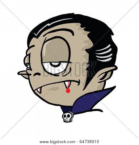 vampire head cartoon illustration