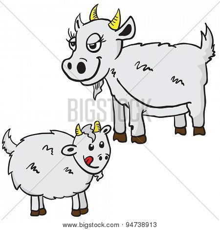 mom and baby goat cartoon illustration isolated on white