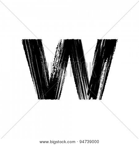 Vector hand paint letter w. Hand drawn letter with dry brush. Lower case