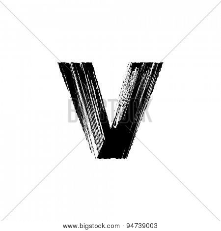 Vector hand paint letter v. Hand drawn letter with dry brush. Lower case