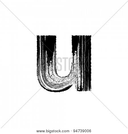 Vector hand paint letter u. Hand drawn letter with dry brush. Lower case