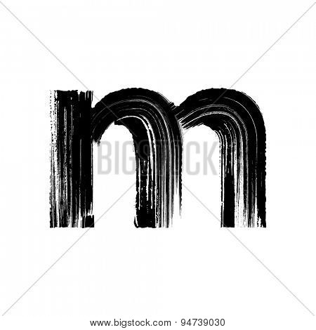 Vector hand paint letter m. Hand drawn letter with dry brush. Lower case