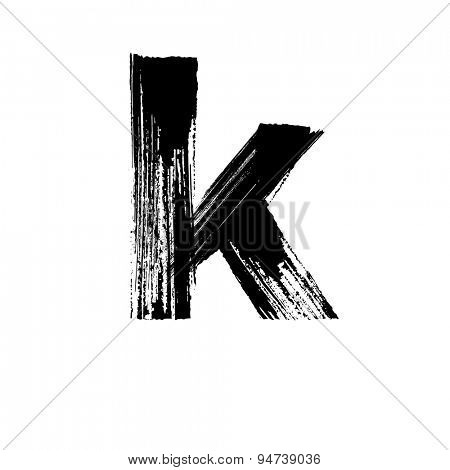 Vector hand paint letter k. Hand drawn letter with dry brush. Lower case